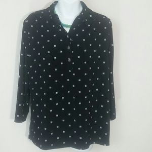 Top blouse flowy black white long sleeve